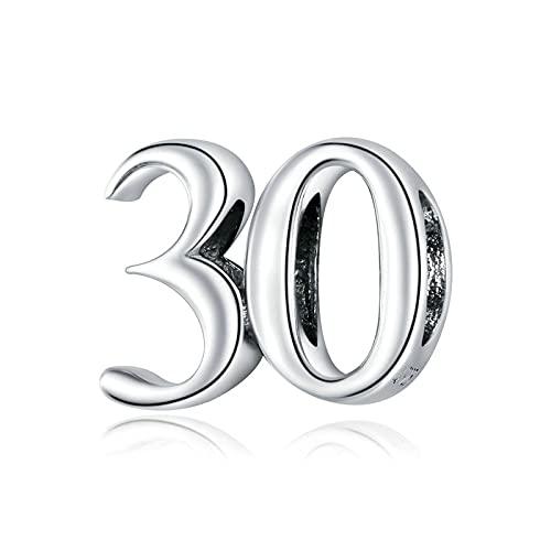 LIJIAN DIY 925 Sterling Jewelry Charm Beads Numbers Simple Simple Colgante Accesorios Haga Originales Pandora Collares Pulseras Y Tobilleras Regalos para Mujeres