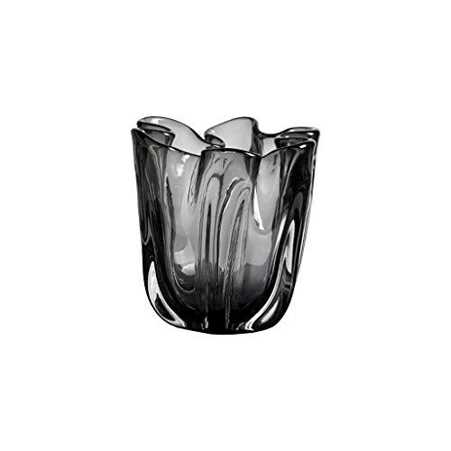 jinyi2016SHOP Maceta Black Transparente Vidrio Jarrón Salón Casa Tabla de Café Dormitorio Estudio Decoración Jarrón Flor Florero 6,4/11.4 Pulgadas Alta con Agujero De Drenaje Macetas (Size : Small)