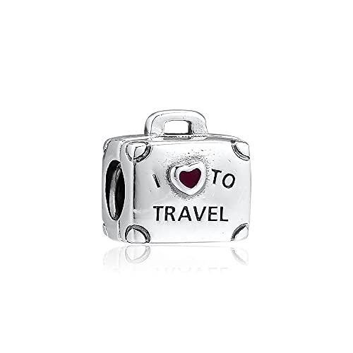 Pandora 925 ciondolo in argento sterling fai da te adatto a braccialetti con ciondoli I Love Travel Valigia Charm Beads Jewelry Making Women Whole