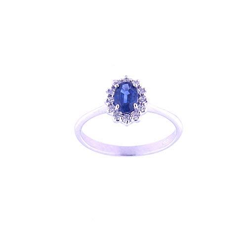 Anelie Gioielli - Anillo en Oro Blanco de 18 Quilates con Zafiro Azul y Diamantes Talla 16, Anillo de Mujer en Oro Blanco 750 con Zafiro Azul y Diamantes