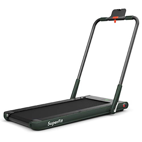 Goplus 2 in 1 Folding Treadmill, 2.25HP Under Desk Electric Treadmill, Installation-Free, with Remote Control, Bluetooth Speaker and LED Display, Walking Jogging Machine for Home Use (Dark Green)