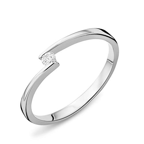 Miore Jewellery Women 0.04 Ct Solitaire Diamond Engagement Ring White Gold 9 Kt/375 Gold