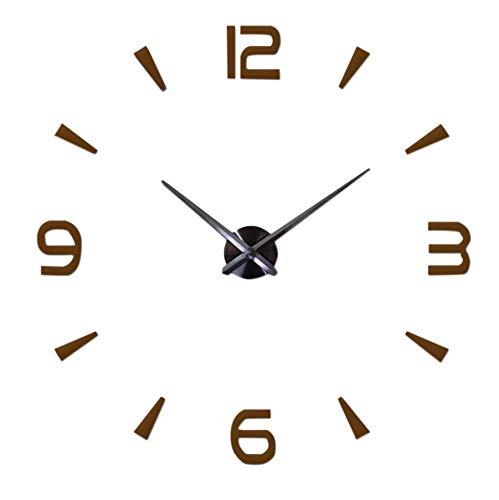 wivarra Reloj de Pared 3D Grande DIY, Sin Marco, Silencioso, Sin Tictac, Kits de Relojes de Cuarzo con Pegatina con NúMero de Espejo para DecoracióN de Dormitorio, MarróN