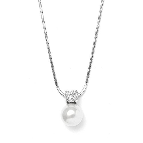 Mariell Round White Pearl Drop Necklace Pendant with CZ Accent - Ideal for Wedding, Bridesmaid & Everyday