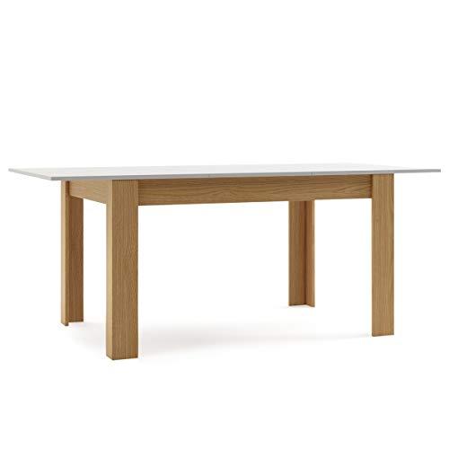 Mc Haus GROTTA - Mesa Extensible para Salón Comedor, Blanca, 140/190 x 90 x 78 cm