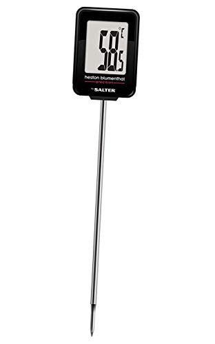 Heston Blumenthal Digital Meat Thermometer by Salter, Instant Read Food Probe for Kitchen, Cooking, BBQ, Within 0.1 Degree Precision, Incl. Battery, Case, Pocket Clip + Ideal Temperature Card - Silver