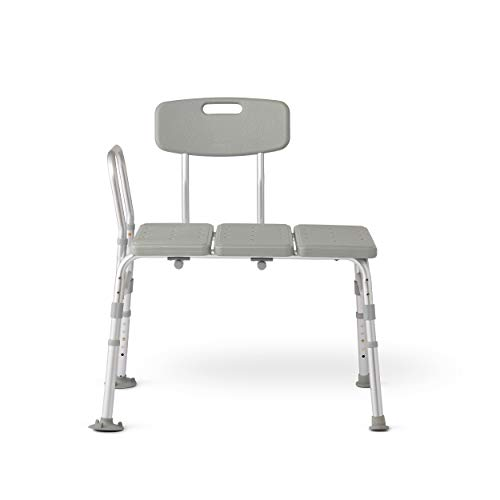 Medline Transfer Bench for Bathtub, for Use as a Bath Chair or Shower Seat, Durable with Height Adjustable Legs, Non-Slip Feet, Gray