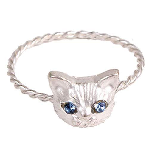 UBL PULABORing - Anillo de mujer, adorno de mano, diseño de gato con purpurina, bonito aniversario de moda, regalo exquisito, mano de obra