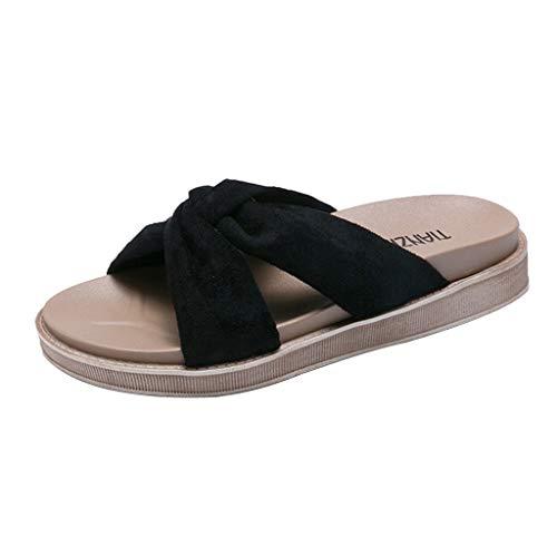 Beonzale Frauen Sommer dicken Boden Muffin Knick Hausschuhe Flache römische Freizeit Strandschuhe Schnalle Riemen Freizeitschuhe Schuhe