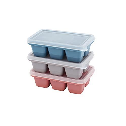 Chunjing Bandeja de Hielo Cubo de Hielo Caja de Hielo Molde de congelación congelador rápido refrigerador doméstico Red casera Caja de Hielo congelada roja con Tapa de Silicona(Color:3 Pieces)