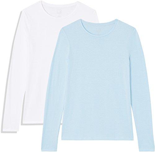 Amazon-Marke: MERAKI AP006 t shirt damen, 2er pack, Blau (Cashmere Blue/White),  Medium