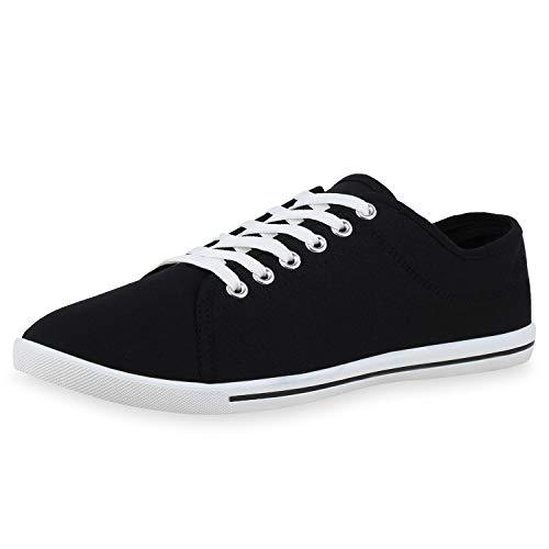 SCARPE VITA Herren Sneaker Low Basic Turnschuhe Schnürer Canvas Stoff Schuhe Freizeit Schnürschuhe 174542 Black Black Total 44