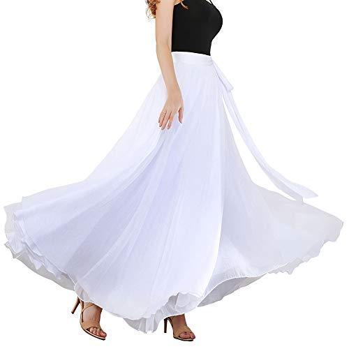 ROYAL SMEELA Faldas de Mujer Danza del Vientre Danza Moderna Falda Faldas una Pieza Cruzadas Ajustable Falda de Vendaje de Hilo Antiguedad Retro Doble Capa Falda Larga de Carnaval