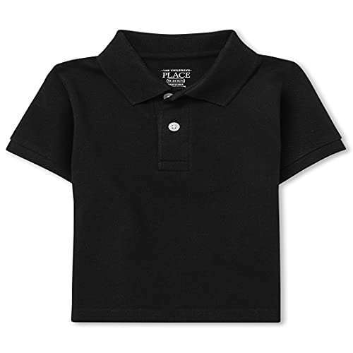 The Children's Place baby boys Short Sleeve School Uniform Polo Shirt, Black 0049, 4T US