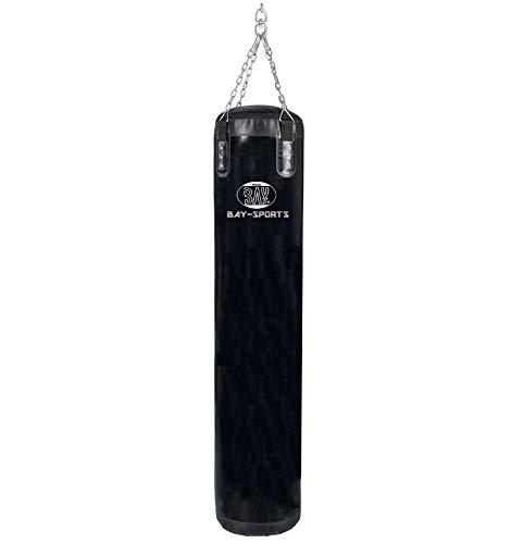Bay Sandsack 180 cm mit Stahlkette Boxsack schwarz Trainingssack Standard ungefüllt + Kette + Drehwirbel leer