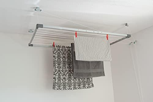 DRY-SMART - Tendedero de techo extensible para bañera, balcón, interior y exterior, ahorra espacio, Fácil fijación al techo, 100-160 cm