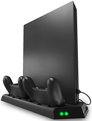 Ortz PS4 Stand Cooling Fan Station for Playstation 4, PS4 Accessories, PS4 Vertical Stand with Dual Controller EXT Port Charger Dock Station 3 USB HUB Port for PS4 Pro and PS4 Slim