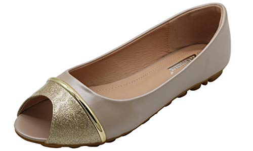 Modenpeak Women Peep Toe Crystal Glitter Slip-Ons Ballet Flat Gold 6