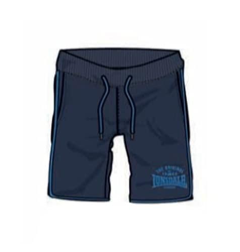 Lonsdale Pantaloncino Palestra Uomo Sportivi da Jogging Basket 100% Cotone Pantalone da Uomo Casual Elastico Estivo Ragazzo Pantaloncino Running Pantaloncini Sportivi da Allenamento (L, Navy 175)