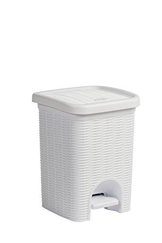 Tretmülleimer im Rattan Design mit herausnehmbaren Einsatz und 6 Liter Volumen im klassischen Weiß - für das Bad, die Küche oder das Büro
