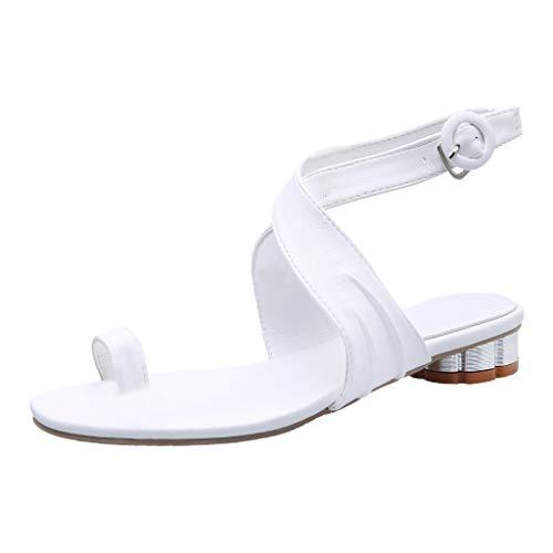 TUDUZ-Schuhe Damen Sommer Sandalen mit Absatz, Open Toe Schnalle Riemchensandalen, Strand Schuhe, Gemütlich Flip Flops Bohemian Schuhe(Weiß,42 EU)
