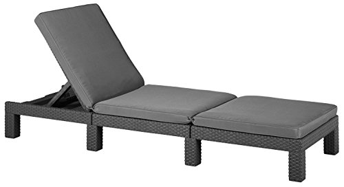 Allibert Daytona Sunlounger - Graphite with Grey Cushion