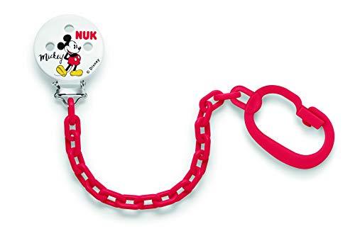 NUK 10256312 Disney Mickey Mouse Saugerkette, mit Clip zur sicheren Befestigung des Schnullers an Baby's Kleidung, 1 Stück, Farbe nicht frei wählbar