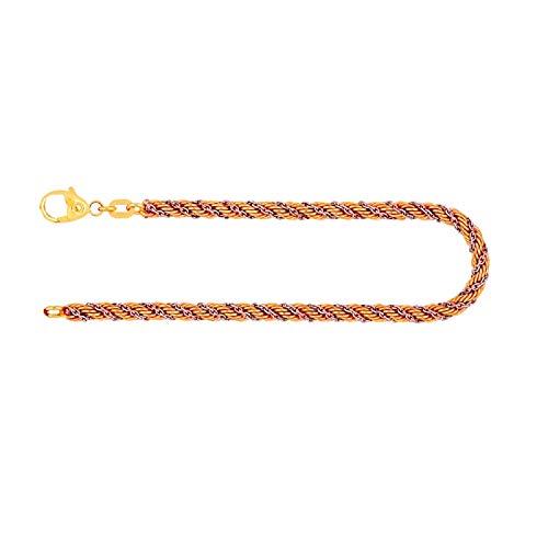 Armband Kordelkette hohl Bicolor Gelbgold/Weißgold 585/14 K, Länge 18.5 cm, Breite 3.3 mm, Gewicht ca. 5.3 g, NEU