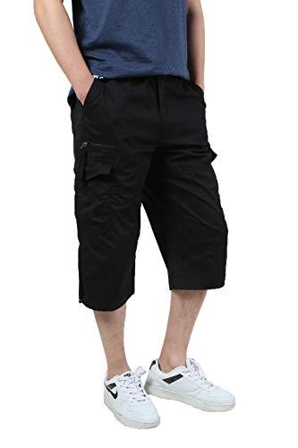 JYG Men's Twill Elastic Cargo Shorts Below Knee 3/4 Capri Pants with Belt Black