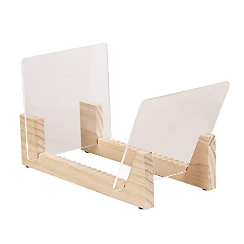 Vinyl Record Storage Holder Record Stand Album Storage Display Stand-Store and Holds Up to 50 Albums,DVDs,or CDs-Solid Pine Wood with Crystal Clear Acrylic-Modern Design-Natural