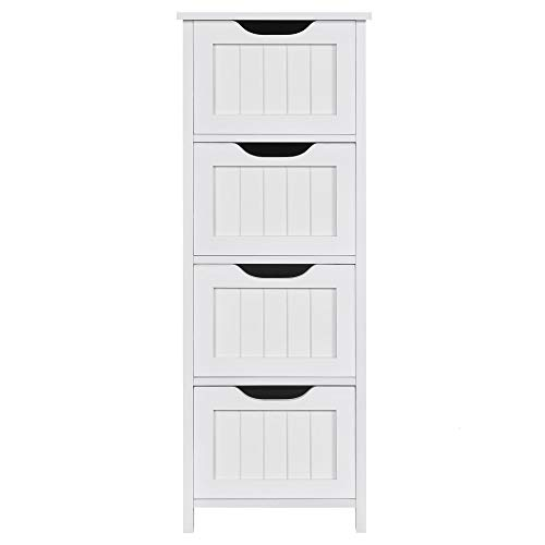Yaheetech Bathroom Floor Cabinet with 4 Drawers, Wooden Cabinet Free-Standing Organizer Unit, Side Table, Bathroom Accent Furniture, White
