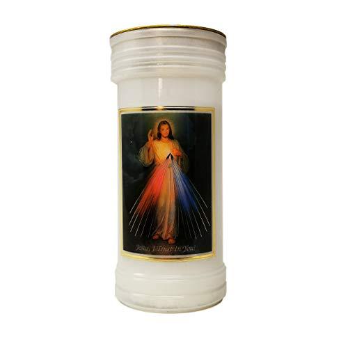 C BC Catholic Divine Mercy candle 72 hour burn white 15cm with prayer