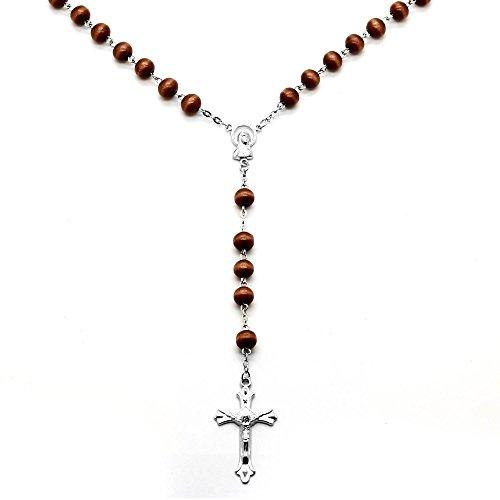 tumundo Corona del Rosario Perle di Legno 50 cm Catenina Collana Pendente con Croce Nero Marrone Beige, Colore:Marrone