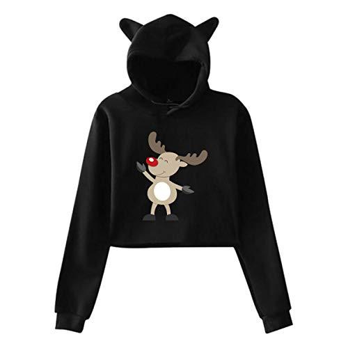 Oreille de Chat de Noël Elk Deer Sweat à Capuche Fille Crop Top Hip Hop Warm Cool(L,Noir)