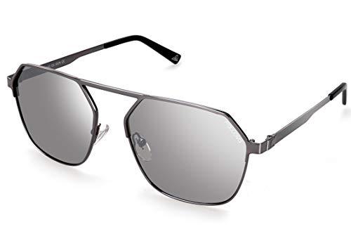 fawova Gafas Hexagonales Hombre Polarizada, Gafas Geométricas Unisex, Gafas de Sol Cuadradas Mujer, Gafas Poligonales con Metal Gris, UV400,Cat.3,56mm(Gris, Plateado Espejado)