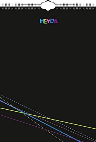 Heyda 2070470 Bastel-/Kreativkalender (13 Monatsblätter, A 4, Kalendarium immerwährend, Wire-O-Bindung mit Aufhänger, Deckblatt schwarz, Monatsblätter) schwarz