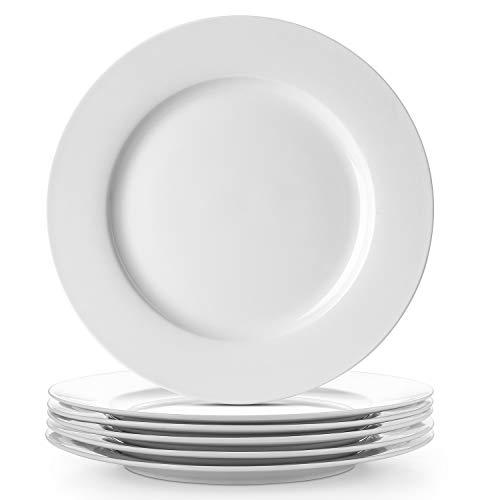 DOWAN Porcelain Dinner Plates, 8 Inches Desert Serving Platters Set of 6,White