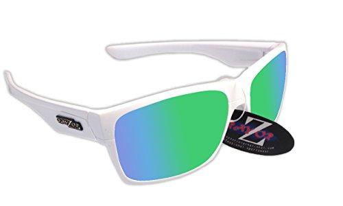 Rayzor Lunettes léger UV400 Blanc Sports Wrap Course Lunettes de soleil, avec une Vert Iridium Miroir anti-éblouissement objectif