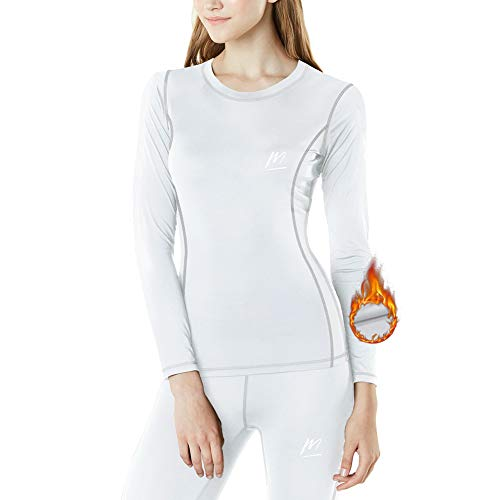 MeetHoo Thermounterwäsche Damen, Funktionsunterwäsche Set Funktionswäsche Thermoaktiv Thermowäsche Base Layer Skiunterwäsche Skifahren Laufen,  Weiß,  XL