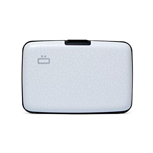 Ögon Smart Wallets - Cartera de Aluminio Stockholm - Tarjetero RFID antirrobo - Capacidad 10 Tarjetas y Billetes - Crackled White