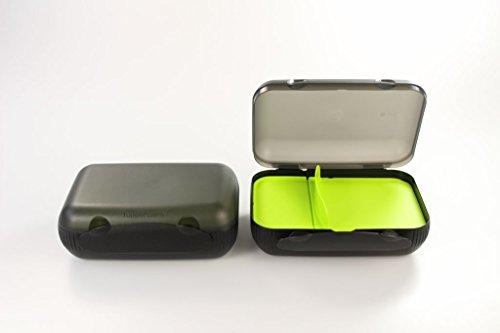 TUPPERWARE To Go Lunch-Box schwarz limette mit Trennung (2) Brotbox Sandwich 16274