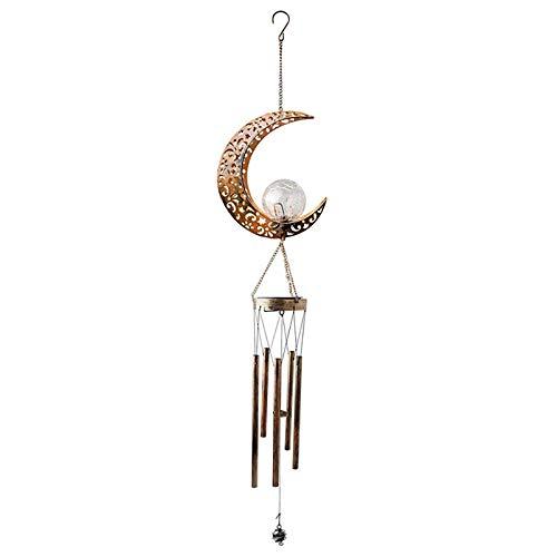 Aimiyaelec Solar Wind Glockenspiel Lampe, LED Outdoor Garten Lampe, hängende Outdoor Mobile Lampe, verwendet für Außenterrasse Rasen Hof Balkon Dekoration (Mond)