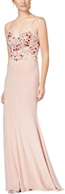 Xscape Womens Embroidered Embellished Formal Dress Pink 4