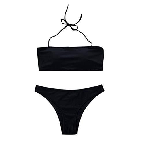 Bikinis Mujer 2019 Tanga, Mujeres Bandeau Bandage Bikini Set Push-Up Brasileño Ropa de Playa Traje de Baño Color sólido