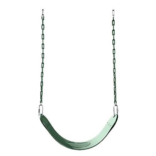 Swing-N-Slide Heavy Duty Green Swing Seat - 58' Vinyl Coated Chain Backyard Playground Swing for Replacement or Accessories
