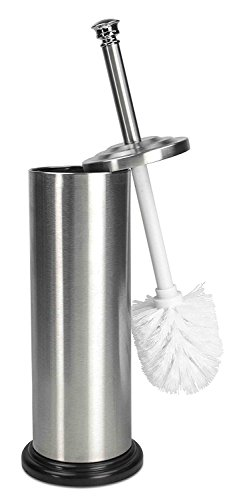 Home Basics Toilet Brush with Holder (Matte Steel)