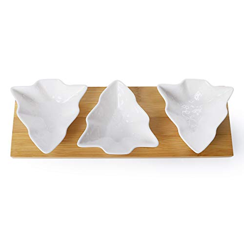Sweese 743.101 Christmas Candy Dishes, 3 Pieces Chip and Dip Bowls Set, Tree Shaped Sauce Dishes with Bamboo Tray for Christmas Party Snacks, Nuts, Condiments, Appetizers, Ketchup, Wasabi, White