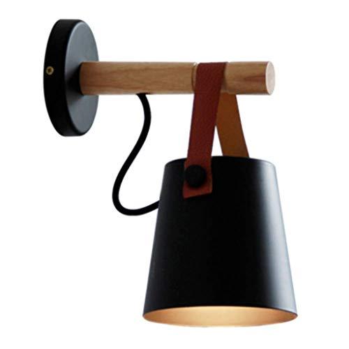 Aplique, Apliques de pared Interior Americano Rural Creativo Nórdico Iluminación simple Hierro forjado Correa de madera con pantalla negra Lámpara de pared E27 Enchufe para sala de estar Dormitorio B