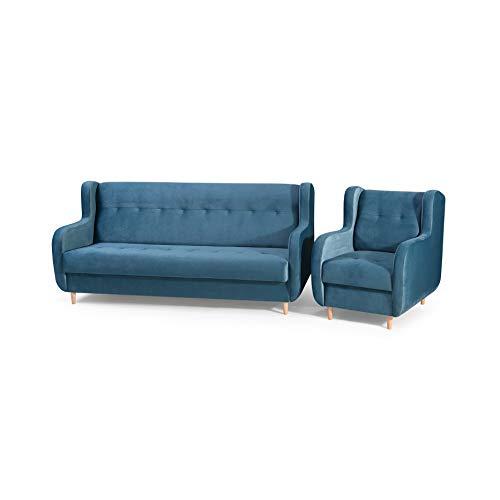 mb-moebel Polstergarnitur Sofa und Sessel Couch mit Bettkasten und Schlaffunktion Polstersofa 3+1 Danny (Blau)