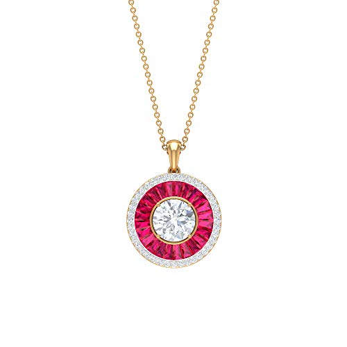 Custom 12.40 CT Diamond Halo Pendant Necklace, Taper Cut Ruby Gemstone Necklace, Solitaire Moissanite Wedding Pendant, Antique Women Drop Pendant Gift, 10K Yellow Gold
